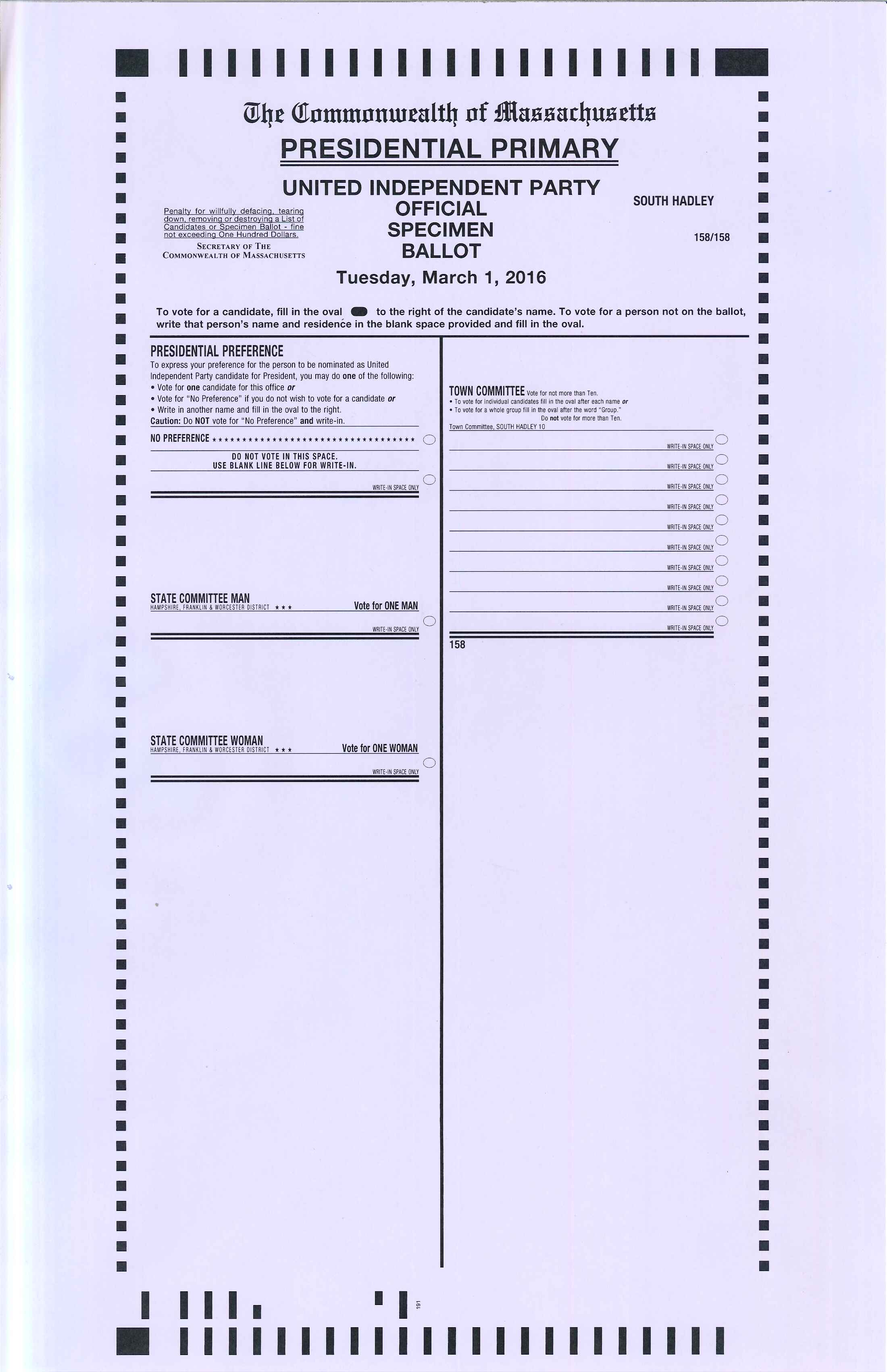 Presidential Primary Independent Specimen Ballot