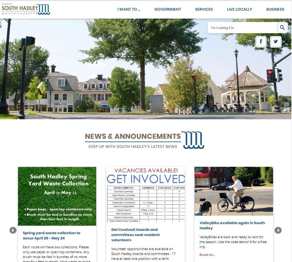 A white and blue website for the Town of South Hadley