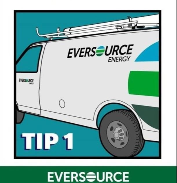 A poster with a graphic featuring a white Eversource van