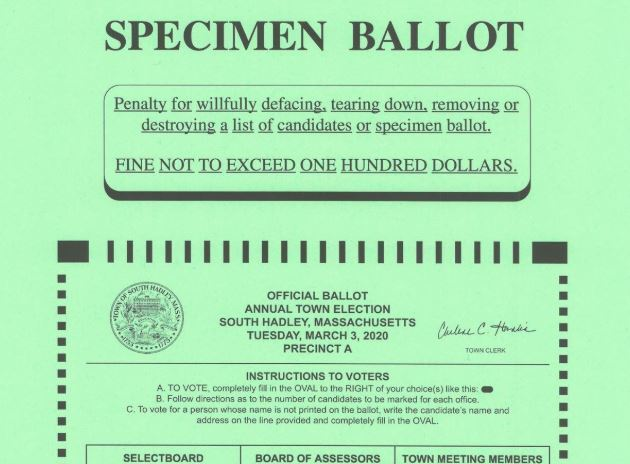 A green Specimen Ballot listing election information