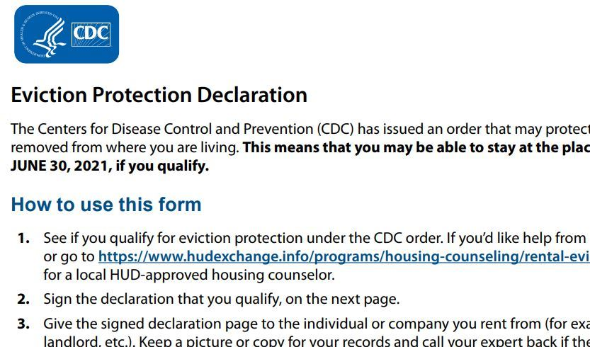 Eviction protection declaration